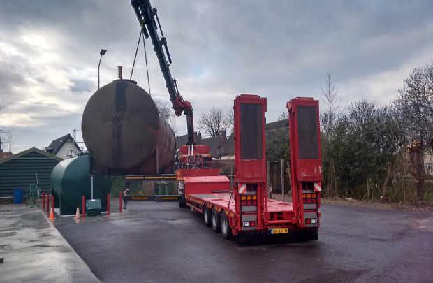 dieseltankafvoeren Bovengrondse tank verwijderen